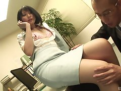 Secretary drops greater than her knees to suck a dick and gets fucked from behind