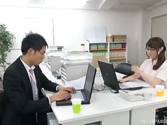 Hardcore gender on the office table yon a sexy Japanese transcriber