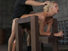 Fake boobs blonde slut Courtney Taylor gets secured up and fucked