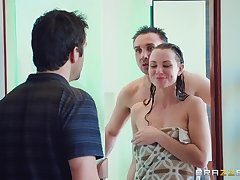 Perfect scenes of hard sex with a gagged babe on fire