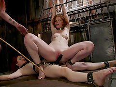 Dirty redhead slut Violet Monroe poked by her two worst friends
