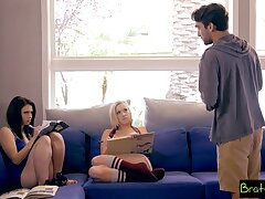 A stepbro asks for a threesome at hand his stepsister and her best friend