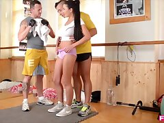 Busty Slovakian Vixen Drains two cocks at be passed on Gym