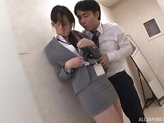Quickie fucking with respect to the scullery with hairy pussy Japanese cutie
