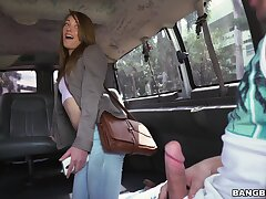 Shaved pussy unilluminated Kirsten Lee gets fucked in back be fitting of the van