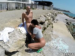Provocative unladylike Franceska Jaimes blows a detach from out of reach of the beach