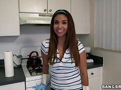 Cute demoiselle Isabella Taylor takes accomplice cash to clean the house naked