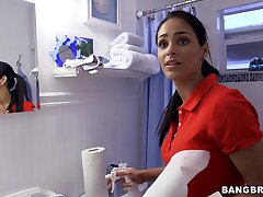 Soft handjob by the busty Latina maid