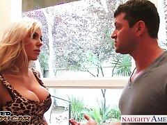 Before fucking doggy busty blonde sexpot Nina Elle is poked doggy hard