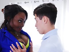 Ebony with big tits, massive empty sex with younger boy