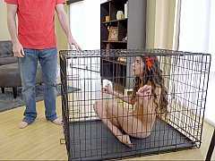 Caged stepdaughter punished