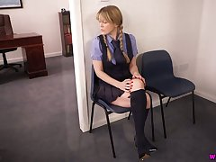 Naughty student Brook Little takes off uniform and shows boobies and pussy