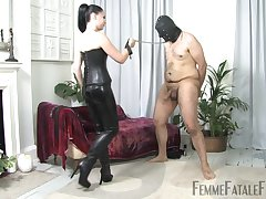 Lady Sophia Black wears sexy costum for seducing and fucking her beau