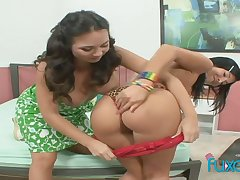Quite buxom gals are lift to use double ended dildo for holes inculcate