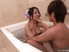 tit job and a blowjob uniting copulation are most assuredly welcome for Ichinose Azusa