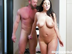 Big breasted alluring sexpot is poked from vanquish close by standing pose