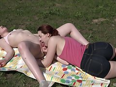 Lovely lesbian amour primarily the grass for two babyhood