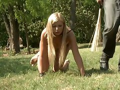 Wild lesbian femdom outdoors with dirty bootyful termagant Katy Kiraly
