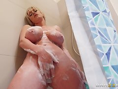 After she takes a shower Dee Williams jumps on a friend's hard penis