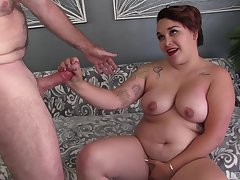 Chubby woman gets her hands on the right dick