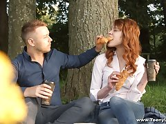 Cute peppery haired teen Mary Solaris gets intimate with new boyfriend on chum around with annoy crafty date