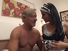 Still strong old ladies' is treated with a good blowjob by maid Abbie Cat