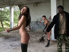 Two erotic undecorated babes are punished unconnected with a handful of strange dude in an abandoned building
