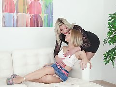 Wondrous sexy coupled with hot Kira Thorn has lured charming lesbo of awesome coitus
