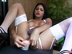 Dream Tranny - Shemales Mounting Dildos Compilation Fastening 9