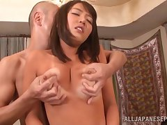 Japanese babe with suntan lines fingered coupled with fucked good
