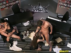 Foursome sex in the office with Gina Valentina and Samantha Hayes