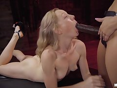 Gagged blonde continues to play submissive be fitting of will not hear of lesbian mistress