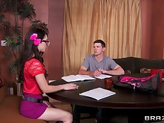 Brunette battle-axe spreads her legs for a large cock to bang her