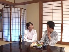 Japanese housewife Saki Hatsumi moans with pleasure during nice sex
